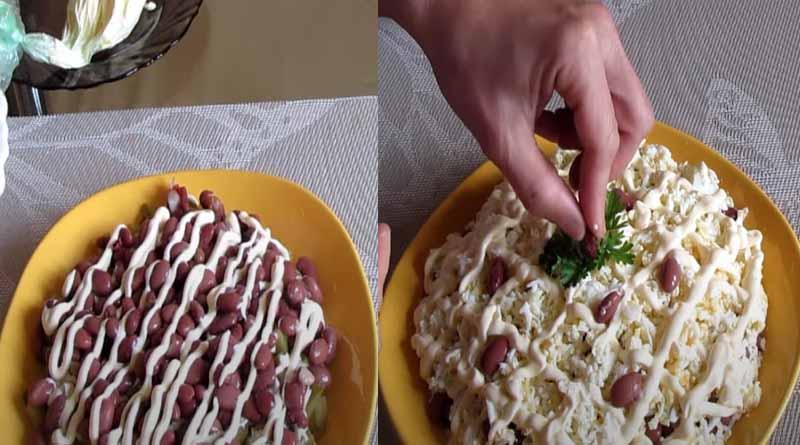Приготовление и украшение салата с фасолью