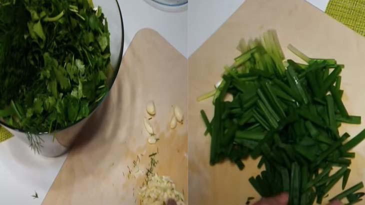 Зеленый лук и чеснок для салата