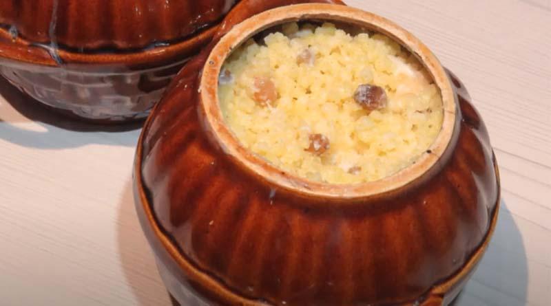 Пшенная каша с рисом и изюмом в горшочке